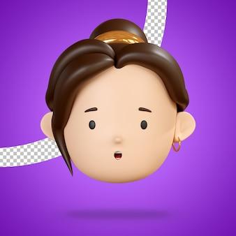 Visage avec bouche ouverte pour emoji étonné de rendu 3d de personnage de femme