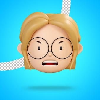 Visage en colère du personnage de fille avec des lunettes rendu 3d