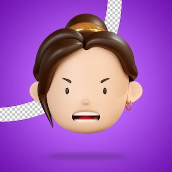Visage en colère de femme caractère emoji 3d render isolé