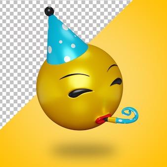 Visage d'emoji de fête 3d avec trompette