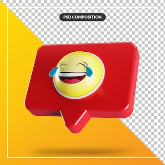 Visage avec des larmes de symbole emoji de joie dans la bulle de dialogue