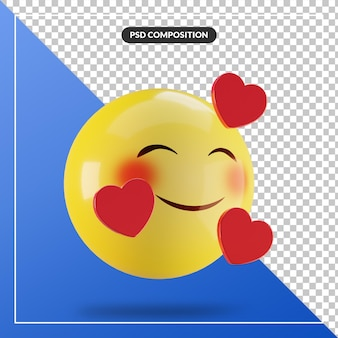 Visage souriant emoji 3d avec coeur isolé pour la composition des médias sociaux