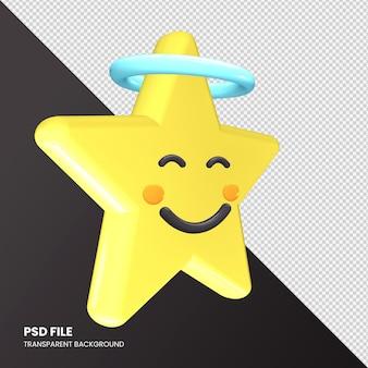 Visage souriant de rendu 3d emoji étoile avec halo isolé