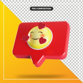 Visage souriant avec symbole emoji coeur dans la bulle de dialogue