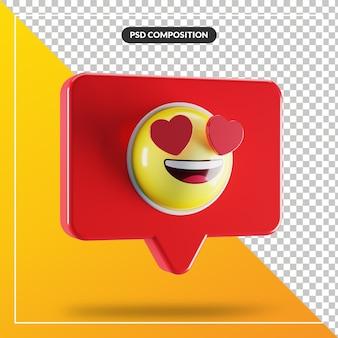 Visage souriant avec symbole emoji coeur yeux dans la bulle de dialogue