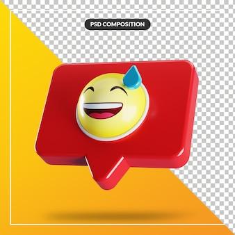 Visage souriant avec symbole emoji de sueur dans la bulle de dialogue