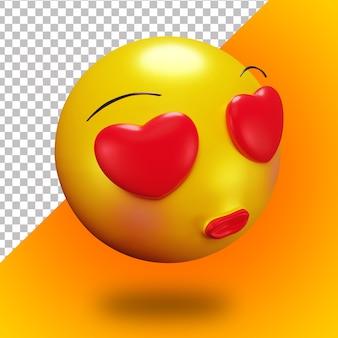 Visage timide 3d tombant amoureux emoji