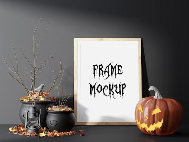 Visualisation 3d de maquette de cadre photo de nuit d'halloween
