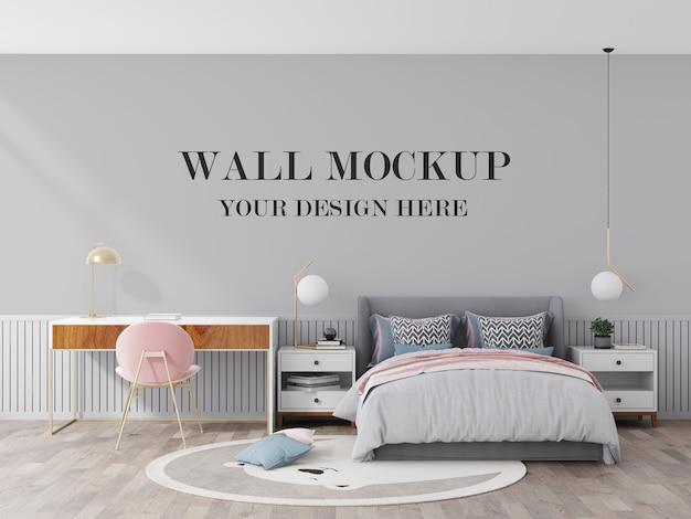 Visualisation 3d de maquette de mur de jeune chambre