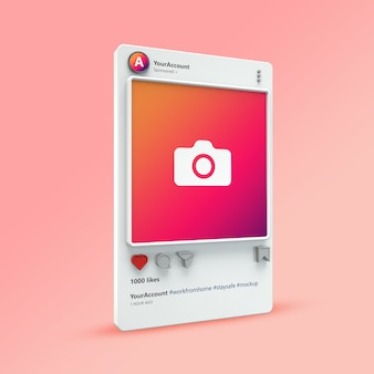 Visualisation 3d de la maquette de publication instagram