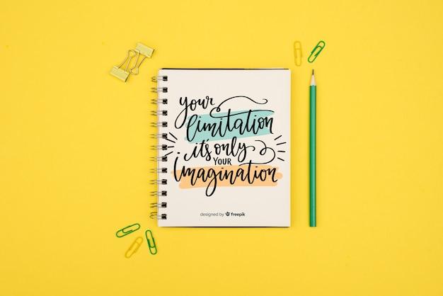 Votre limitation n'est que votre imagination citation sur fond jaune