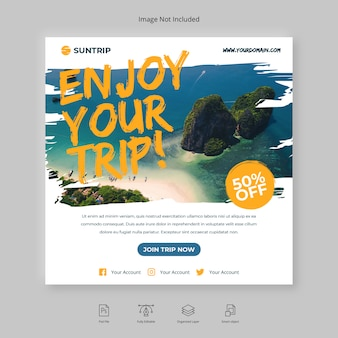 Voyage d'aventure ou voyage instagram post social media banner flyer carré brush
