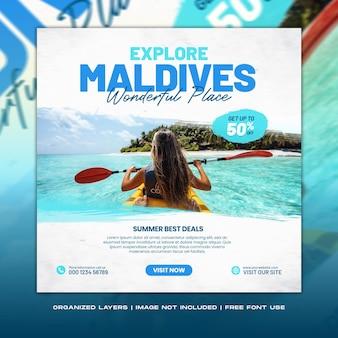 Voyage vacances vacances explorer maldives médias sociaux publier bannière web
