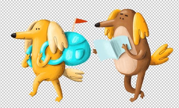 Voyager dessin animé chiens clipart
