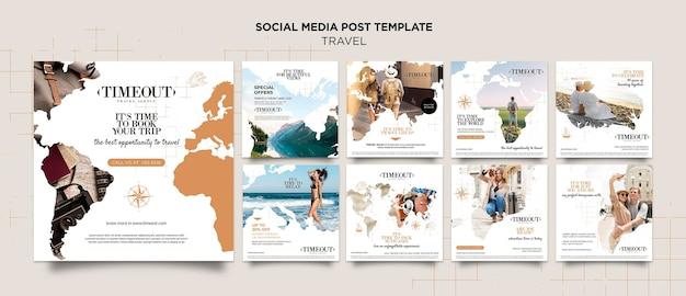 Voyagez dans le monde modèle de publication sur les réseaux sociaux