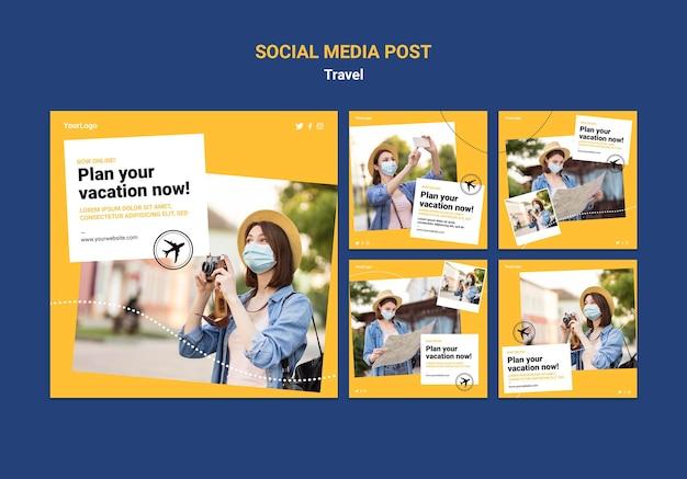 Voyagez Dans Les Publications Sur Les Réseaux Sociaux Avec Photos Psd gratuit