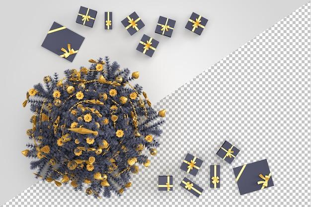Vue aérienne de l'arbre de noël avec coffrets cadeaux