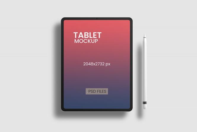 Vue d'angle de dessus de maquette de tablette