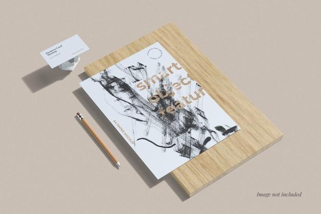Vue d'angle élevé de maquette de marque minimaliste