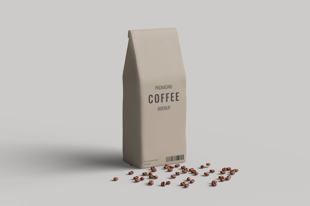 Vue d'angle gauche de maquette de sac de café avec grain de café