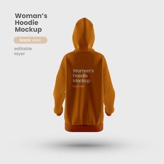 Vue arrière de la maquette du sweat à capuche pour femme premium