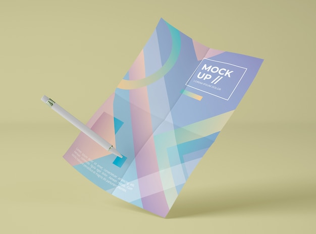 Vue avant du papier maquette avec stylo