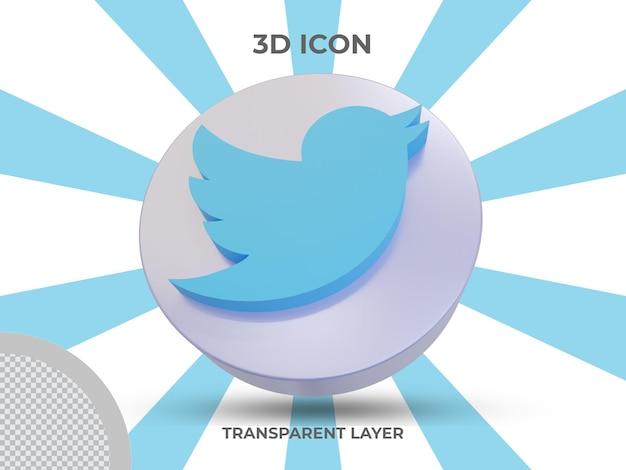 Vue avant de l'icône twitter isolé en rendu 3d de haute qualité