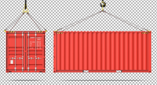 Vue avant et latérale du conteneur d'expédition de fret suspendu à un crochet de grue