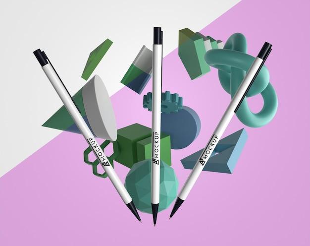 Vue avant des stylos maquette pour le merchandising