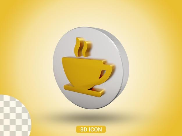 Vue de côté de l'icône de conception de tasse de café en rendu 3d