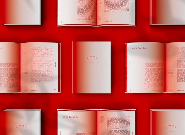 Vue de dessus 3d de la maquette de livres à couverture rigide fermée et ouverte