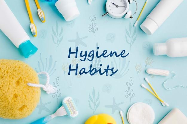 Vue de dessus des accessoires de soins personnels pour les habitudes d'hygiène