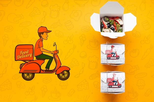 Vue de dessus arrangement de livraison de nourriture gratuite avec maquette