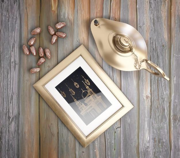 Vue de dessus arrangement de muharram avec lampe d'or