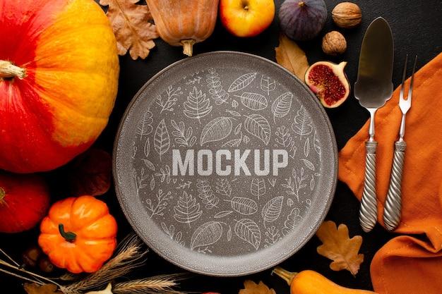 Vue de dessus arrangement de nourriture de thanksgiving