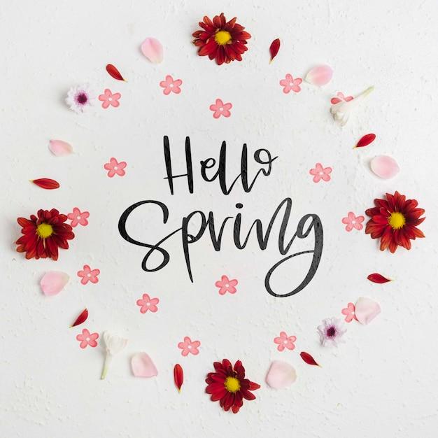 Vue de dessus bonjour printemps lettrage concept