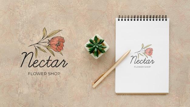 Vue de dessus boutique de fleurs de nectar avec maquette