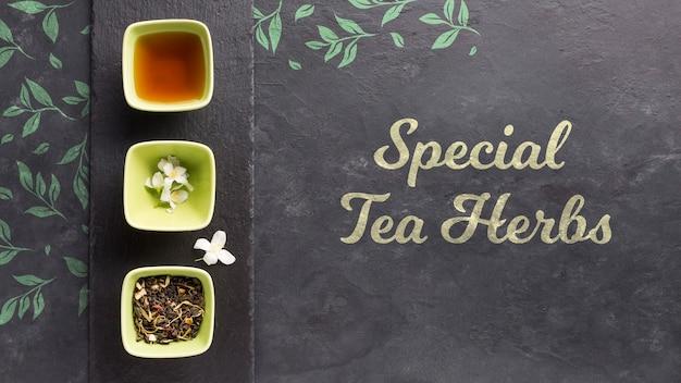 Vue de dessus concept d'herbes de thé spécial