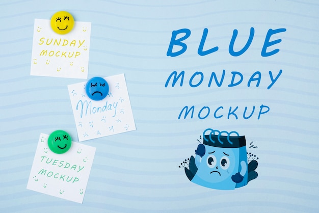 Vue de dessus concept de lundi bleu
