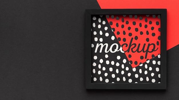 Vue de dessus de la conception du cadre de maquette avec espace de copie