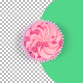 Vue de dessus des cup cakes roses isolés