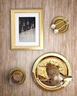 Vue de dessus décoration nouvel an islamique sur fond en bois