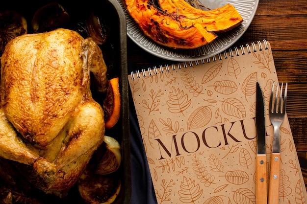 Vue de dessus délicieuse dinde de thanksgiving