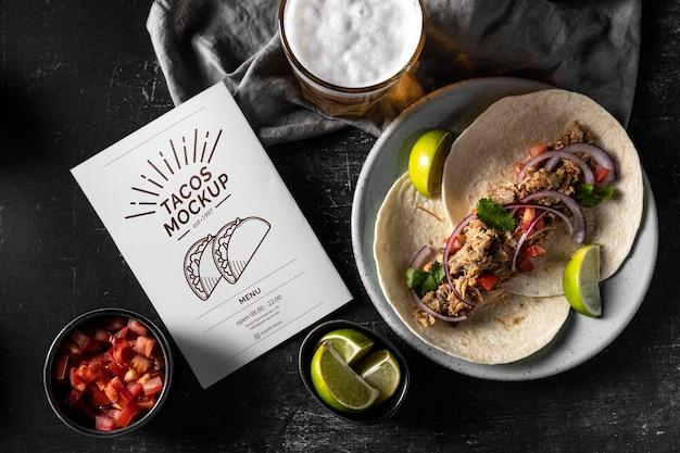 Vue de dessus délicieux arrangement de tacos