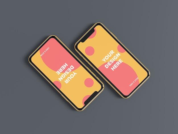 Vue de dessus en diagonale du double smartphone