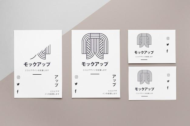 Vue de dessus divers document de maquette japonais