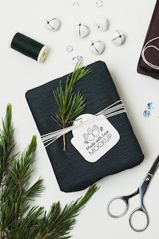 Vue de dessus du cadeau avec des ciseaux et des plantes