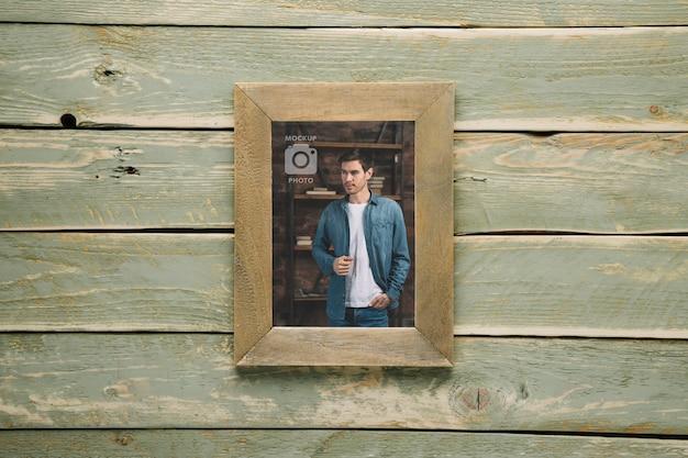 Vue de dessus du cadre en bois simple