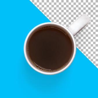 Vue de dessus du café noir chaud sur une tasse blanche isolée