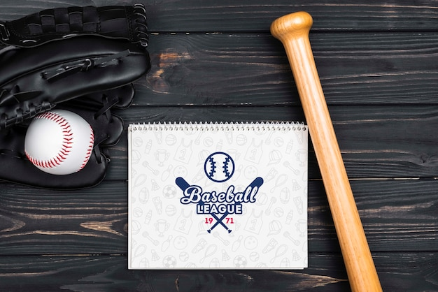Vue de dessus du concept de baseball américain